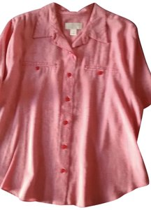 CJ Banks Check Waist Length Short Sleeved Button Down Shirt Red and white