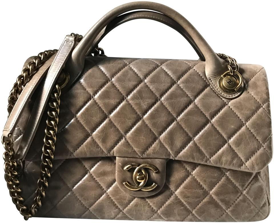 f0663a2242ce77 Chanel Flap with Top Handle Bag Quilted Glazed Calfskin Leather ...