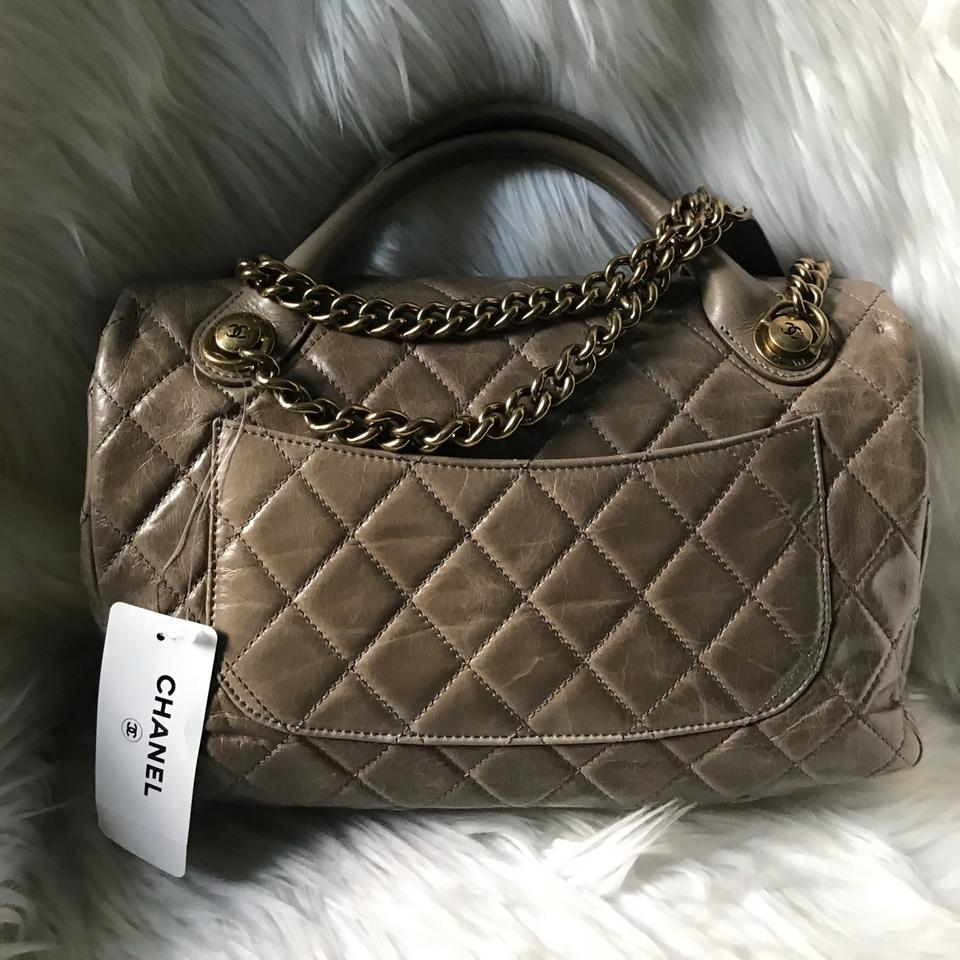 baad023e16a2 Chanel Flap with Top Handle Bag Quilted Glazed Calfskin Leather ...