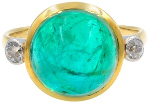 Gavriel's Jewelry Antique Engagement Ring Art Deco 6.00ct Cabochon Cut Emerald 18KY