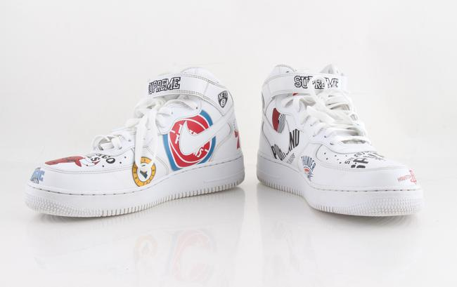 Item - White Leather Air Force One Mid X Supreme X Nba Shoes