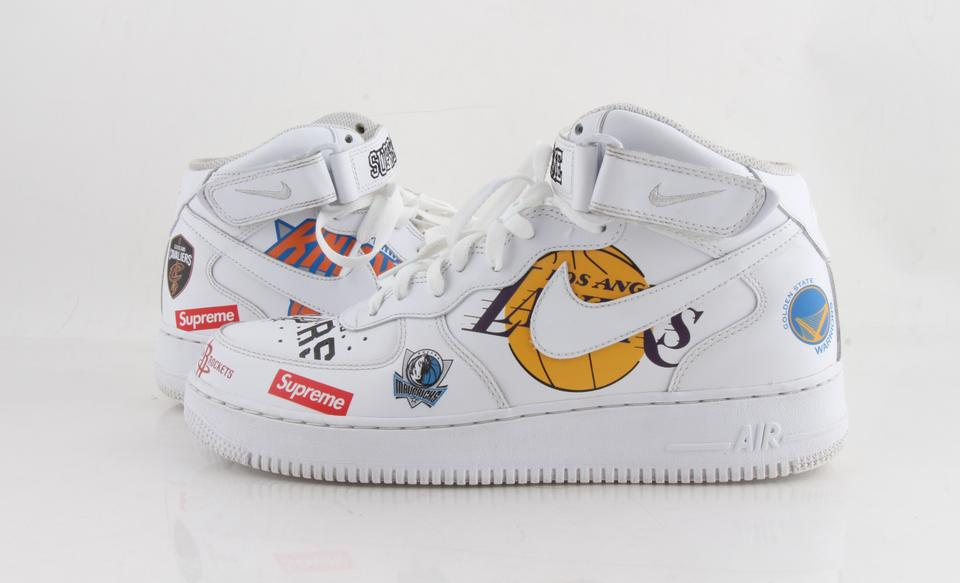 sneakers for cheap 55b0b 4a1d0 Nike White Leather Air Force One Mid X Supreme X Nba Shoes 22% off retail