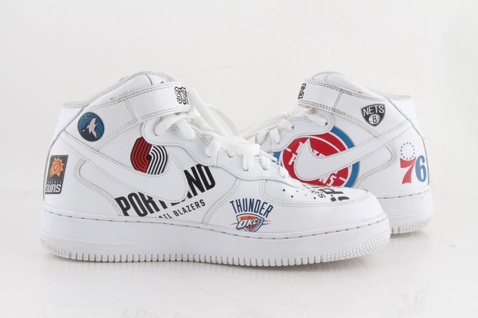 sneakers for cheap 0a950 c6e44 Nike White Leather Air Force One Mid X Supreme X Nba Shoes 22% off retail