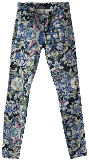 Item - Light Blue with Floral Pink Purple and Green Accents Skinny Jeans Size 26 (2, XS)