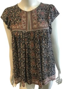 Ulla Johnson Tory Burch Calypso Tunic Silk Top navy/beige/burnt orange