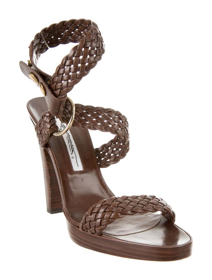 7720058f4a5f Brian Atwood Brown Leather Braided Woven Strap Open Toe Sandals Size ...