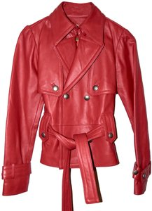 Wilsons Leather Double Breasted Belted Red Leather Jacket