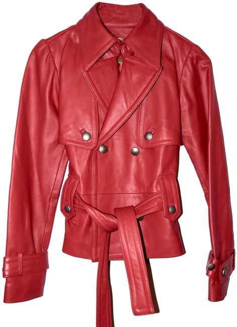 Item - Red Belted Double Breasted Jacket Size 4 (S)