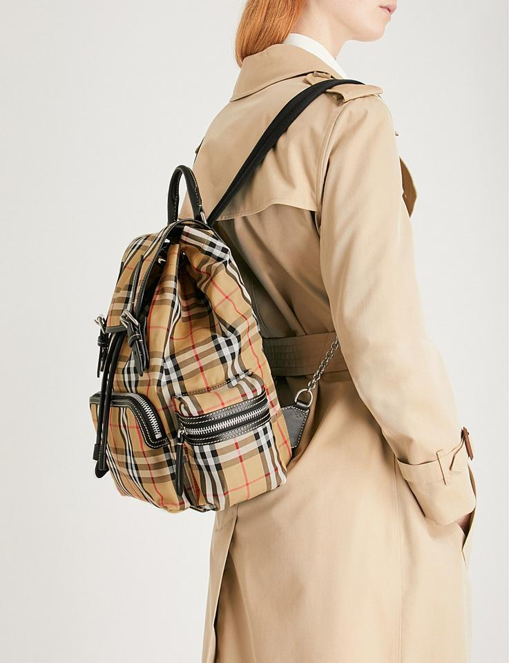 10284a2b4 Burberry Medium Vintage Check and Leather Rucksack Antique Yellow ...