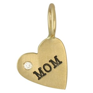 """Heather Moore Jewelry Heather B. Moore gold """"MOM"""" heart with diamond"""
