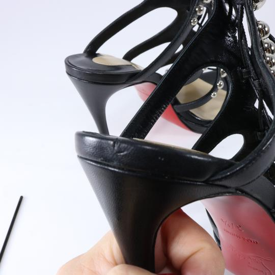 Christian Louboutin Lace Up Spikes Gladiator Heels Black, silver Sandals