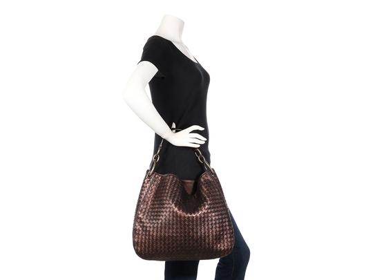 Bottega Veneta Bv.p0727.09 Copper Metallic Intrecciato Woven Hobo Bag