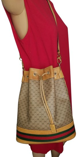 Preload https://item3.tradesy.com/images/gucci-boston-large-drawstring-bucket-tan-with-shades-of-red-and-green-pvc-leather-coated-canvas-cros-23964492-0-1.jpg?width=440&height=440