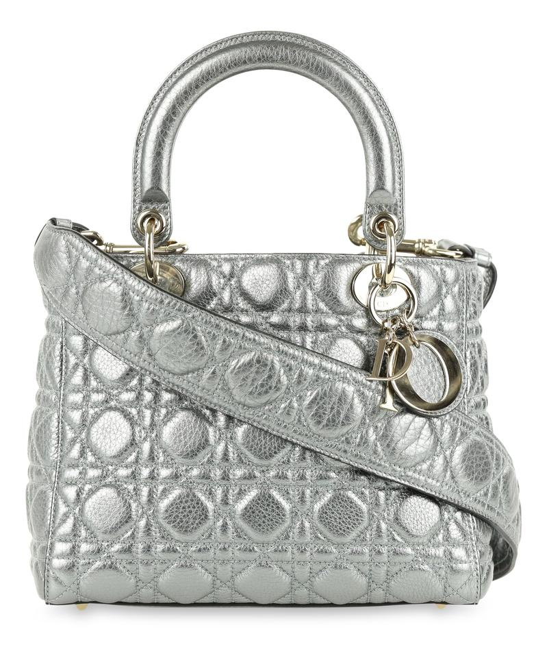 a038a13a81be Dior Cannage Quilted Cd.p0802.10 Metallic Reduced Price Satchel in Silver  Image 0 ...