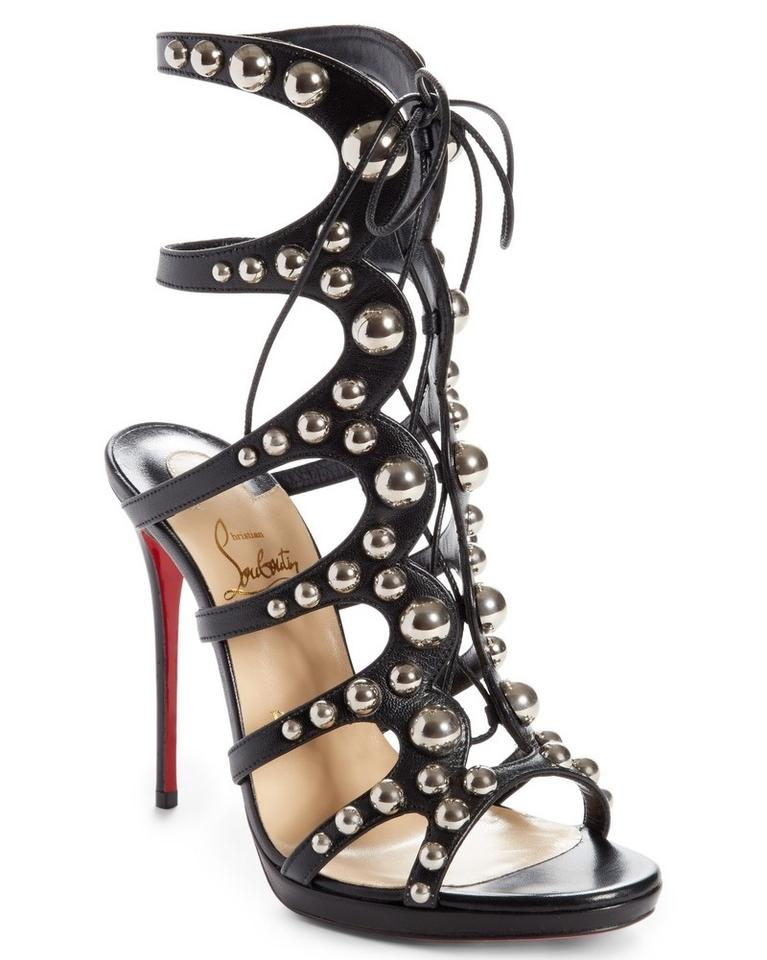 on sale 13b00 4fb7b Christian Louboutin Black Silver Amazoubille 120 Studded Lace Up Tie  Gladiator Heels A935 Sandals Size EU 39 (Approx. US 9) Regular (M, B) 32%  off ...