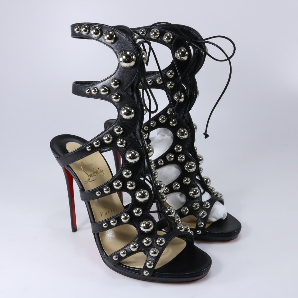 37ec745b0d30 Christian Louboutin Black Silver Amazoubille 120 Studded Lace Up Tie ...