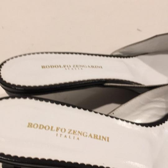 Rodolpho Zengarini blue and white Mules