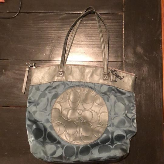Coach Tote in teal and gray