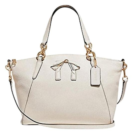 Preload https://item3.tradesy.com/images/coach-kelsey-small-with-bow-chalk-leather-satchel-23964552-0-0.jpg?width=440&height=440