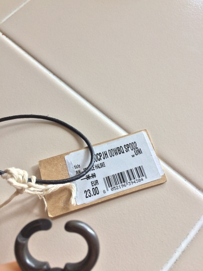 Diesel brass metal keyring necklace clip chain w/ leather tab