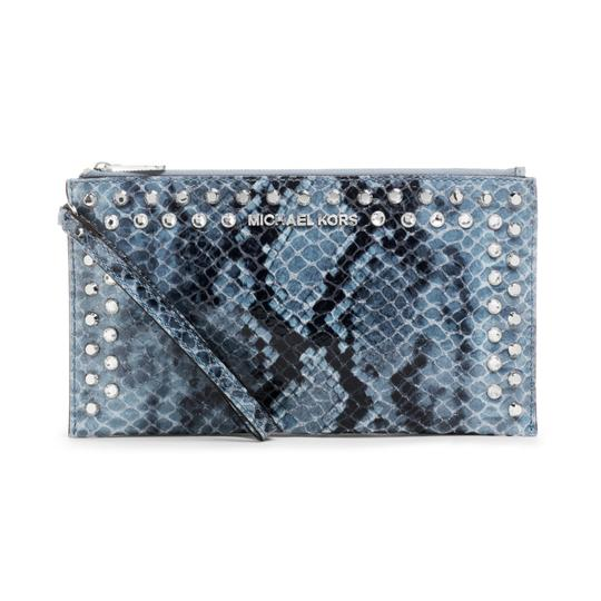 Preload https://item1.tradesy.com/images/michael-kors-jet-set-travel-jewel-studded-rhinestone-studs-large-clutch-denim-blue-python-snake-embo-23964695-0-0.jpg?width=440&height=440