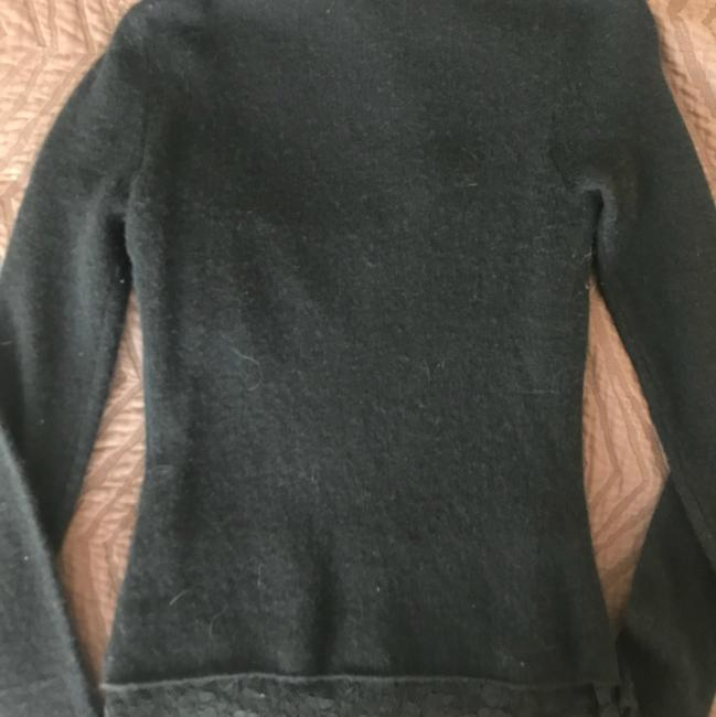 Magaschoni Cashmere Lace Trim Scoop Neck Womens Sweater