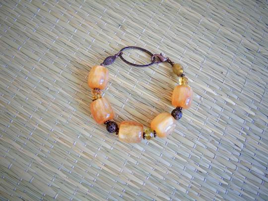 Handmade Fall Orange Luminous Glass Bubble Bead Bracelet