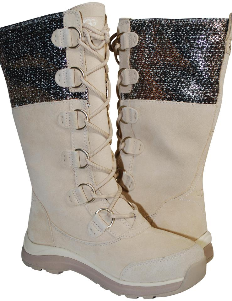 5cff23d8a4 UGG Australia Waterproof Winter Linig Silver Hardware Metallic Tweed CREAM  Boots Image 0 ...