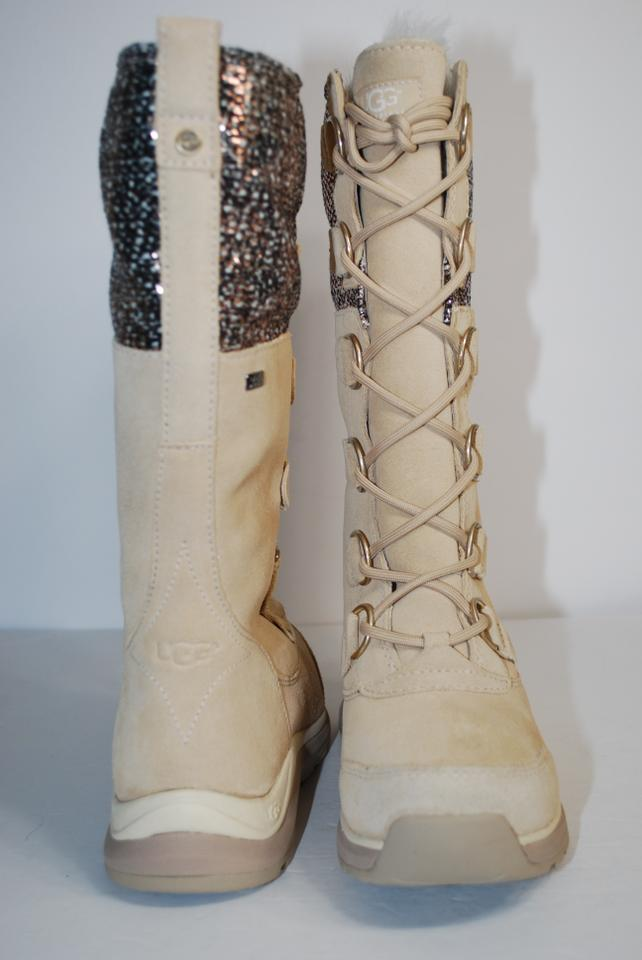 4894925cd0 UGG Australia Waterproof Winter Linig Silver Hardware Metallic Tweed CREAM  Boots Image 10. 1234567891011
