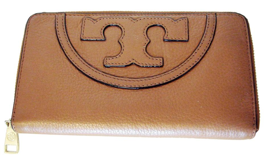 7917390b57 Tory Burch TORY BURCH ALL T ZIP CONTINENTAL WALLET BARK Image 0 ...