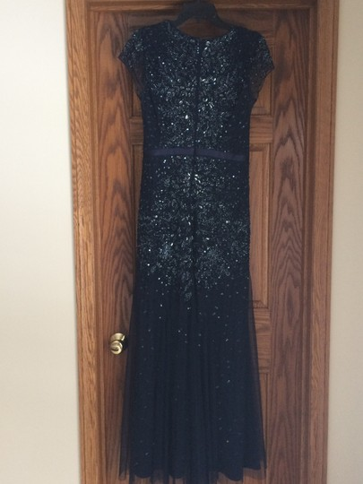Adrianna Papell Blue Beaded and Sequined Formal Bridesmaid/Mob Dress Size 8 (M)