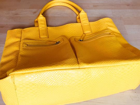 Neiman Marcus Faux Leather Shoulder Crocodile Tote in Yellow