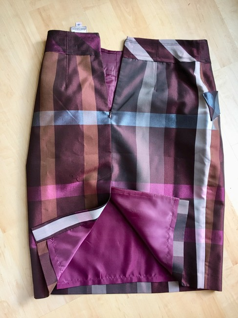 Yoana Baraschi Pencil Cotton Plaid Skirt Purple cognac