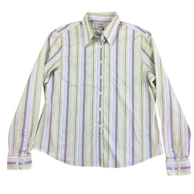 Preload https://item1.tradesy.com/images/faconnable-purple-green-womens-large-beige-striped-button-front-shirt-button-down-top-size-14-l-23965075-0-0.jpg?width=400&height=650
