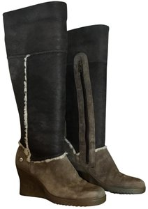 UGG Australia Sandra Leather Wedge Heel Tall Winter Shearling BROWN Boots