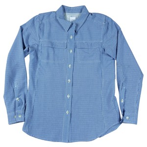 ExOfficio Plaid Button Small Vented Shirt Button Down Shirt blue