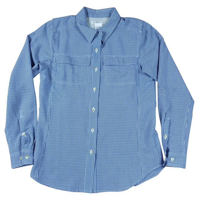Preload https://img-static.tradesy.com/item/23965094/exofficio-blue-womens-small-white-gingham-plaid-button-front-vented-sh-button-down-top-size-6-s-0-0-650-650.jpg