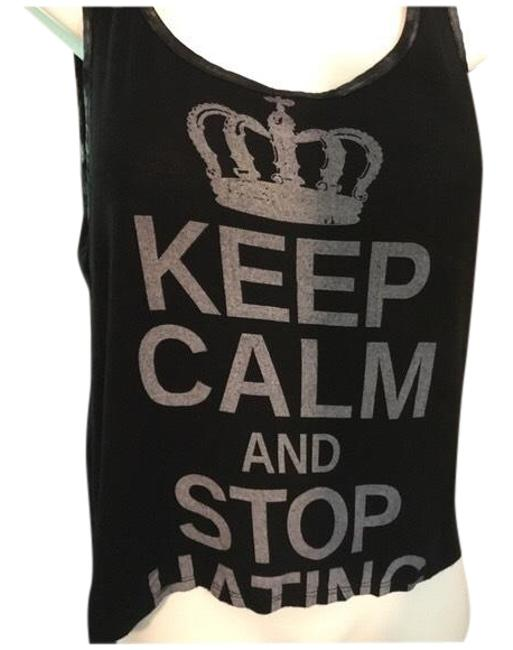 Preload https://item1.tradesy.com/images/black-and-white-cute-keep-calm-crop-tank-topcami-size-4-s-23965100-0-1.jpg?width=400&height=650