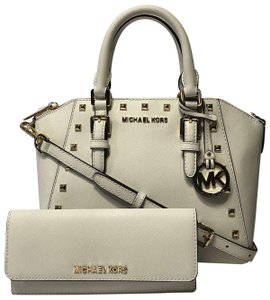 Michael Kors Leather Gold Gucci Satchel in Optic White