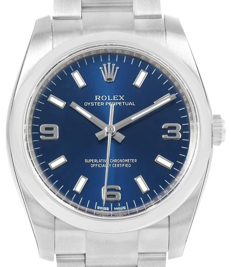 Rolex Rolex Oyster Perpetual Blue Dial Steel Mens Watch 114200 Unworn