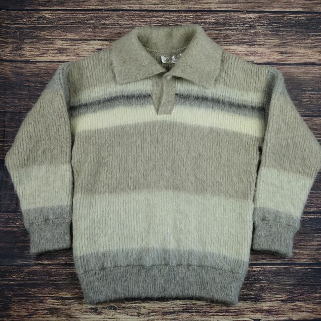 Icewool Collar Striped Knit Sweater