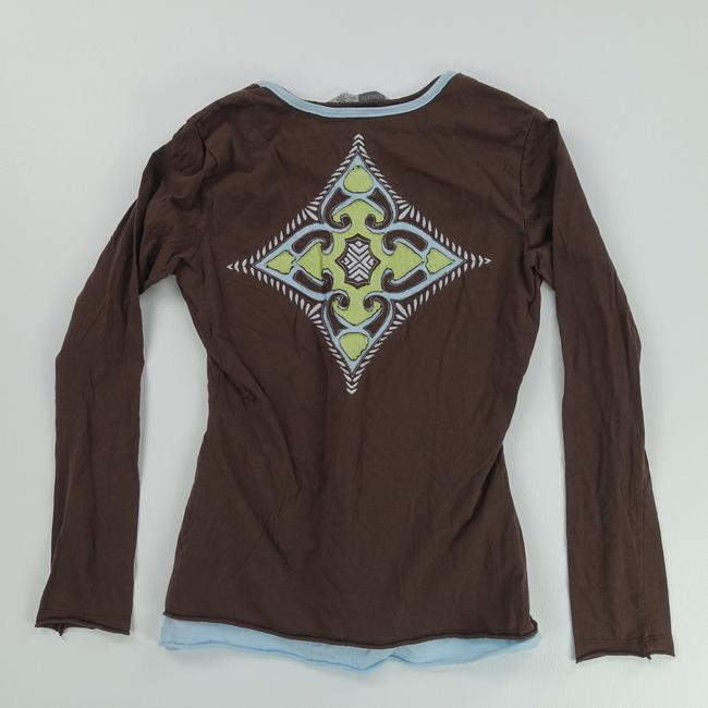 Athleta Casual Long Sleeve Small Green T Shirt Brown