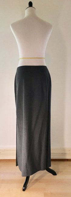 Tahari Wool Stretchy Long Maxi Skirt Heather grey