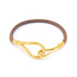 Hermès Hermes Brown Leather Gold-Tone Hook Jumbo Bracelet