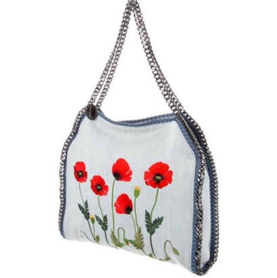 8ffdf4678b11 Stella McCartney Small Falabella Embroidered Botanical Denim Tote ...
