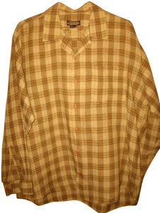 J. Peterman Men's Linen Button Down Shirt Brown and Beige