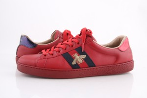 Gucci Red Embroided Sneakers Shoes