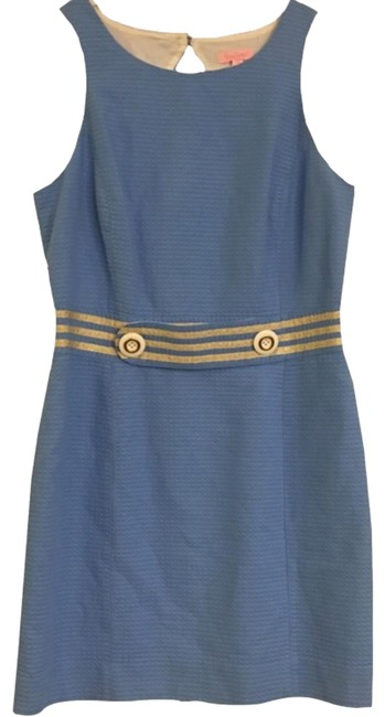 Item - Blue Gold And Mid-length Cocktail Dress Size 12 (L)