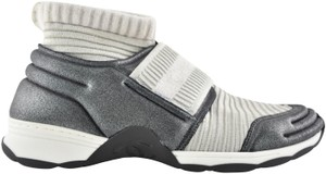 Chanel Trainer Sneaker Flat Stretchy Sock silver Athletic