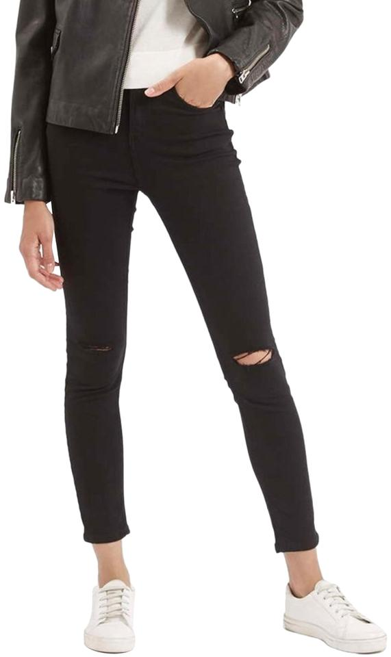 6da05cd2b12 Topshop Black Moto Jamie High Waist Ankle Grazer Crop Ripped Skinny ...